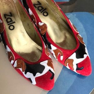 Vintage Zalo spotted doggie kitten heeled shoes